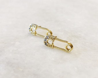 Paperclip Earrings, Gold post earrings