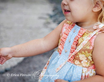Picnic Apron Dress or Top girls sewing tutorial PDF pattern by Tenderfeet Stitches INSTANT DOWNLOAD