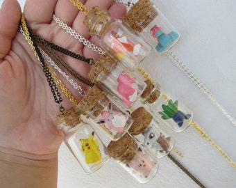 Pokémon Necklaces -  Toys in a Bottle  NEW DESIGNS - Pikachu, Cubone, Clefairy, Slowpoke, Porygon and more! Pokemon bottle necklaces