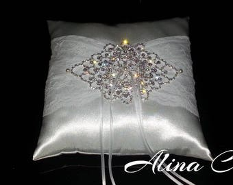 Cuscino portafedi in raso bianco, pizzo e strass SCINTILLE per sposa, matrimonio, cerimonia
