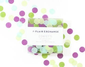 Hand-Cut Confetti - Succulent : Oasis Green, Plum, Chartreuse, Mint - DIY party confetti, Tissue Paper Confetti, Circle Confetti