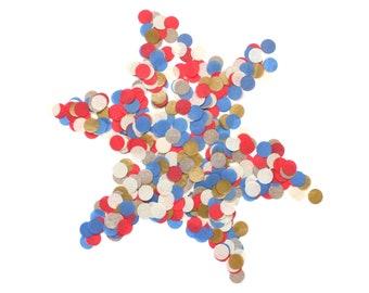 Hand-Cut Confetti - BAND CAMP : Royal, Red, Off White, Metallic Gold - Circle Confetti, Round Confetti, Patriotic Confetti, American Party