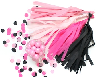 FLAMINGLE Tissue Tassel Garland Kit :  Dark Pink, Black, Hot Pink, Blush - DIY Tassel Garland, Bachelorette Party Decor, Girl's Night Decor