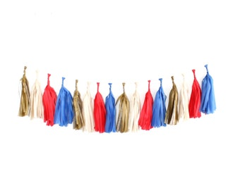 Tissue Tassel Garland Kit - Band Camp : Royal, Red, Off White, Metallic Gold, Americana, American Flag, Red White and Blue