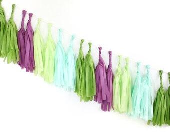 SUCCULENT Tissue Tassel Garland Kit : Oasis Green, Plum, Chartreuse, Mint, Green, DIY Tassel Garland Kit, Boys Birthday, Party Banner