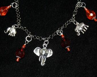 Elephant Charm Bracelet with Czech Beads