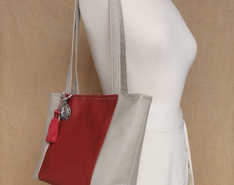 the Suzanne tote - red and taupe
