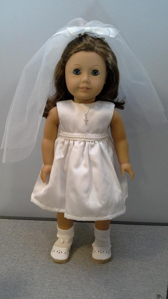 White Satin Sleeveless Dress for 18 inch Doll