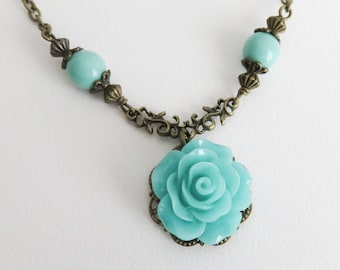 Turquoise flower necklace, romantic vintage style jewelry, blue rose necklace, gift for her, brass and bronze jewelry