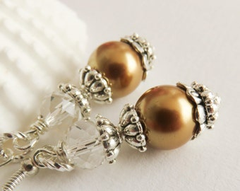 Gold pearl earrings, bridesmaid earrings, vintage style wedding jewelry, bridal party gift, bridesmaid gift, bridal jewelry