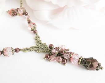 Peach neo victorian necklace, renaissance jewelry, vintage style necklace, cosplay jewelry, antique brass jewelry, gift for her