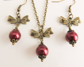 Burgundy jewelry set, burgundy pearl necklace and earrings, bridesmaid gift, vintage style wedding jewelry, bridal party gifts