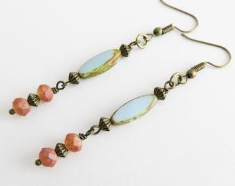 Long blue earrings, bohemian earrings, rustic jewelry, dangle and drop, gift for her, girlfriend gift, blue jewelry