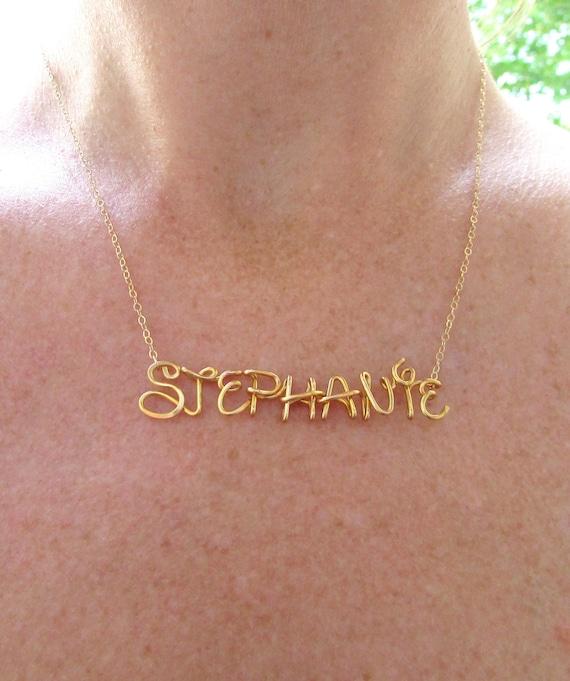 Disney Namenskette Gold 14K Draht wickeln personalisierte | Etsy