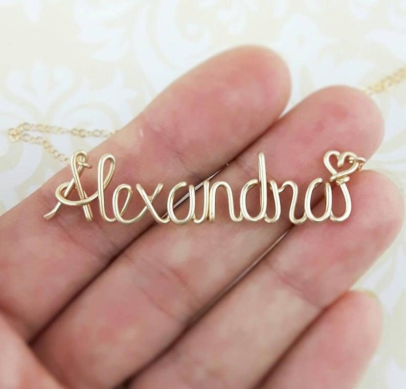 Cursive Name Necklace Custom Name Name Jewelry Handwriting image 0