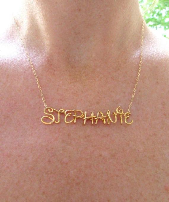 Disney Namenskette personalisierte Drahtname in 14K Gold   Etsy
