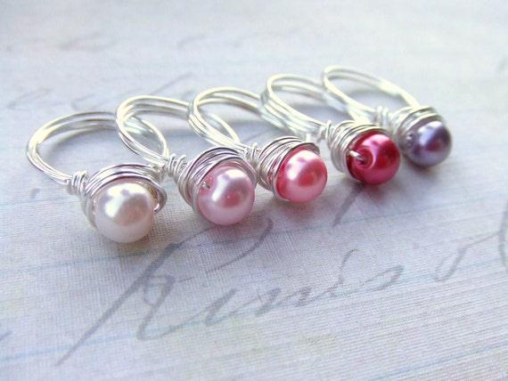 Blumenmädchen-Ring Draht umwickelt Perle Ring Kinder Wire   Etsy