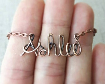 Wire Name Necklace, Boho Style, Wire Wrapped Jewelry Gifts, Oxidized Copper, Personalized Name Necklace, Name Jewelry, Fashion Accessories