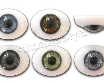 Glass Oval Paperweight Doll Eyes with a Human Iris- One Pair