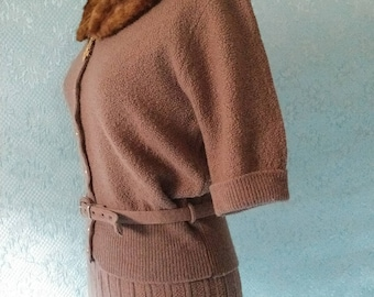 1950's Boucle Belted Sweater and Skirt with Mink Collar and Sweater Clip