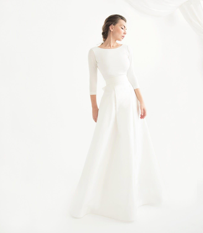 Floor-length Off-white Silk Taffeta Bridal Skirt // Modern