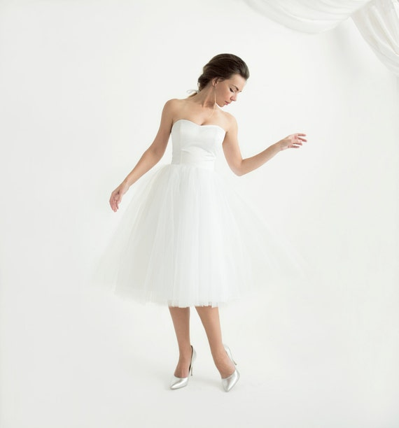 White Strapless Corset Wedding Dress With Tulle Skirt Etsy
