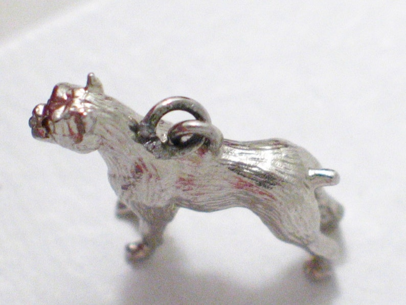 Sterling silver 3d Charm Boxer dog puppy pendant 4 necklace or bracelet breed animal pet gem eyes AKC show breeder vintage fine jewelry