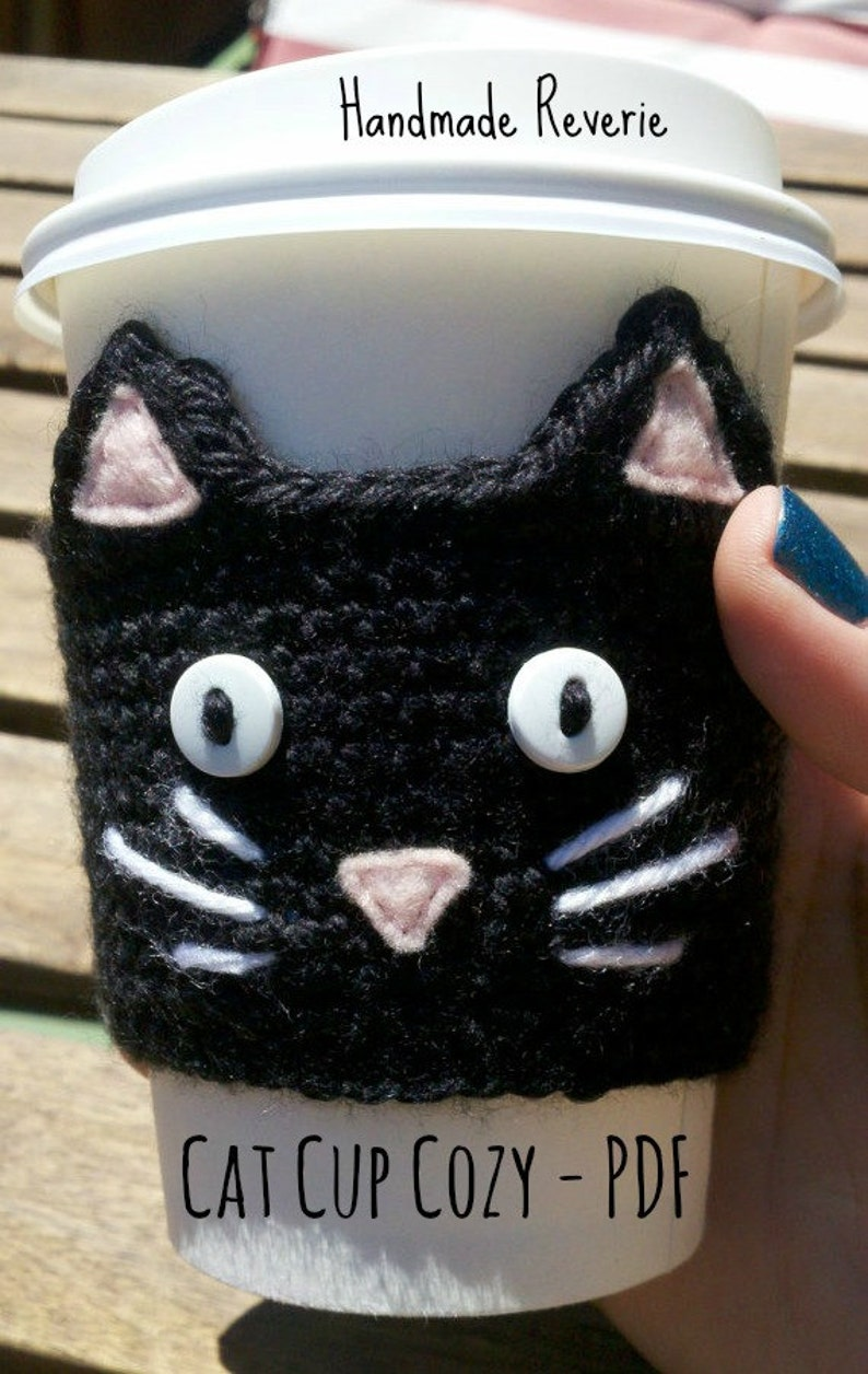 PDF Pattern: Cat Cup Cozy Crochet Pattern  Permission to Sell image 0