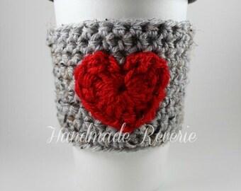 Crochet Heart Cup Cozy Sleeve