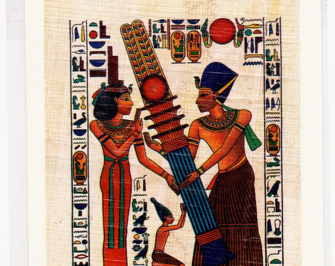 Egyptian Papyrus Note card-Pillar's Construction. Colorful, unique and beautiful in design. Blank inside.