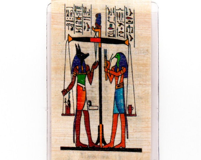 Weighing of the Heart Egyptian papyrus bookmark! The god Anubis weighing the heart. Museum quality. Inexpensive gift.