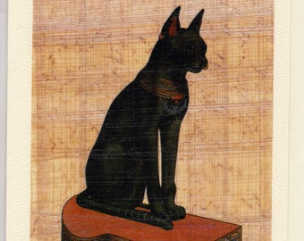 Black Cat Egyptian Papyrus Note Card! Unique, beautiful, useful. Our Bastet card is the perfect gift for anyone who loves cats!