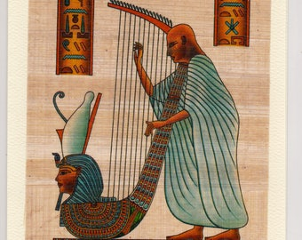 NEW! Harp Player Egyptian Papyrus Note Card. Unique Design. Blank on the inside for a special note. Suitable for framing. A unique gift!