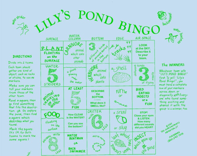Learn about pond life with our Lily's Pond Bingo! Fun Science enrichment activity for kids, families.