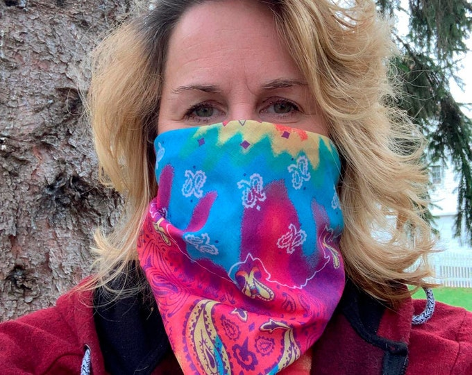 Psychedelic Paisley Bandana Mask! Washable, Reusable! 100% Cotton! Colorful, fun design. Great for teens, kids!