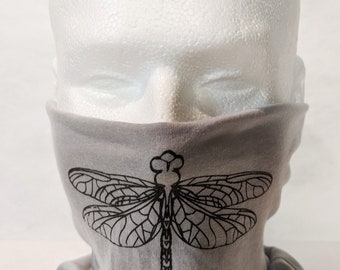 New! Dragonfly Double Layer Gaiter Facemask! White, gray with black! 100% polyester, soft, comfortable, easy to wear, washable! Made in USA!