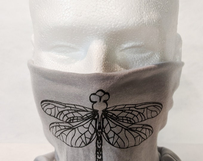 New! Dragonfly Double Layer Gaiter Facemask! White, gray with black! 100% polyester, soft, comfortable, easy to wear, washable!