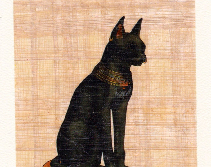 Black Cat Papyrus Card. Unique gift for cat lovers. Nice way to send a special note. Papyrus imported from Egypt. Great gift for cat lovers