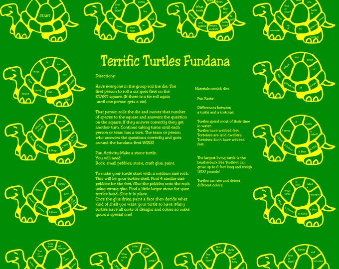 Love Turtles? Play indoors or out. Learn about all kinds of turtles! Included on the bandana is a fun art activity! Science enrichmen game.