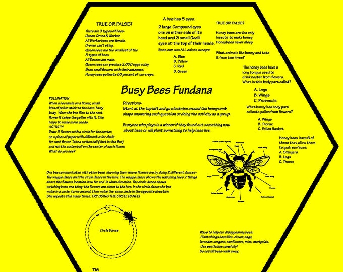 New! BUSY BEES Fundana! Fun activities, questions, hands on way to teach kids about honey bees! Great for kids remote learning, homeschool!