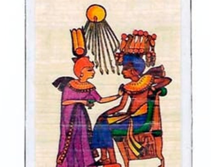 Hieroglyphic Alphabet Papyrus Bookmarks-Tut and Aton Ray god of the Sun design. Unique, affordable gift. Great for teachers, kids, book club