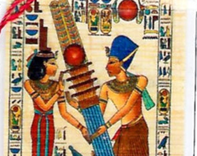 Egyptian Papyrus Bookmark-Pillars Construction. Ancient Egyptian hieroglyphics are part of this beautiful design. Unique, special, gift!