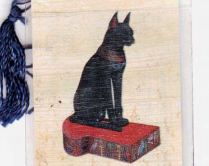 Black Cat Egyptian Papyrus Bookmark. Give cat lovers something different! Great for teachers, book clubs, party favors, home schoolers!