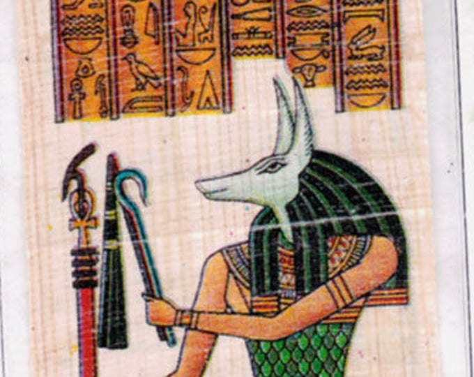 Anubis Egyptian Papyrus Bookmark. God of mummification and the afterlife. A unique, useful gift and a different gift for dog lovers!