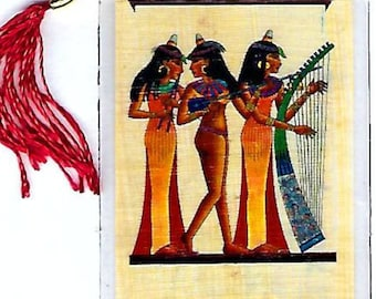 Dancing Musicians Egyptian papyrus bookmark. Beautiful, Egyptian Image. Imported from Egypt. Great gifts for mom, best friends and more!