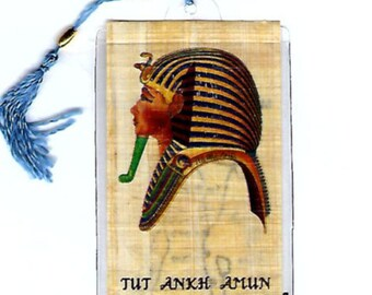 King Tut Egyptian Papyrus Bookmark! Great for school projects, home schoolers, Tut themed parties, book clubs, stocking stuffer!