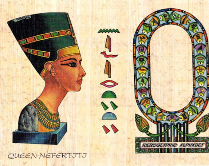 New! Nefertiti Papyrus Hieroglyphic Alphabet Stickers! Nefertiti on Egyptian papyrus. Write your name on papyrus. Great for kids of all ages