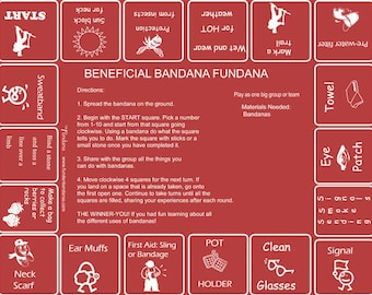 Beneficial Bandana Fundanas! A fun, interactive game learning about the practical uses of bandanas! Great for scouts, camps, YMCA, 4-H!