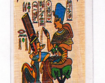 New! Egyptian Papyrus Bookmarks with Hieroglyphic Alphabet! King Tut and Wife on a Throne! Great for Tut projects, Teacher Gift, Students