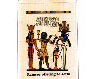 Hieroglyphic Alphabet Papyrus Bookmark- Ramses offering to Sethi design. Unique, affordable. Great for teachers, home schoolers, book clubs!